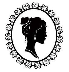 Retro silhouette profile of a young girl vector