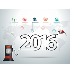 2016 new year ideas concept with gasoline pump vector image vector image