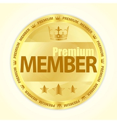 Badge with title premium member in gold color vector
