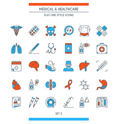 flat line design medical icons 2 vector image vector image