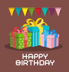 gift boxes happy birthday retro card vector image