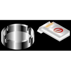 Pack of cigarettes and ashtray vector image