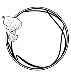 round frame with lily vector image vector image