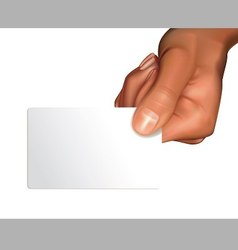 Arm with blank card vector image vector image