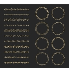 brush and laurel wreath set vector image vector image