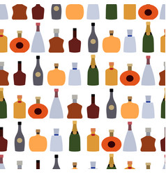 color alcohol drinks bottle seamless pattern vector image