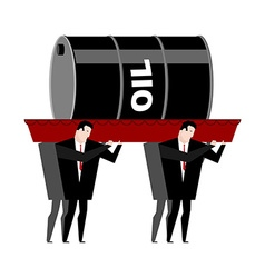 Funeral oil Barrel of oil carried in coffin vector image vector image