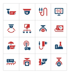 Set color icons of video surveillance vector