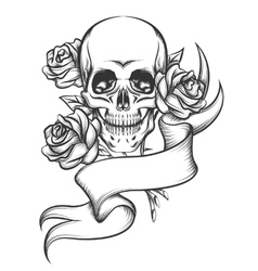 Skull and Roses with Ribbon vector image vector image
