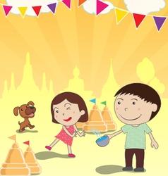 Songkran Festival summer of Thailand vector image