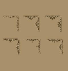 swirl floral design set vector image