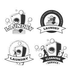 Vintage laundry service dry clean labels vector image