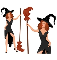 Young blonde witch in a hat with broom halloween vector