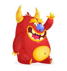 cartoon red monster vector image vector image