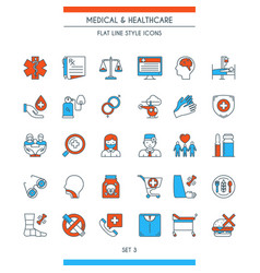 flat line design medical icons 3 vector image