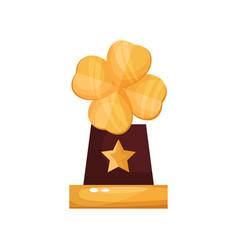 golden award with clover leaf trophy statuette vector image