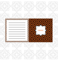 notepad design with orange geometric pattern vector image