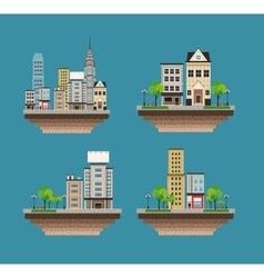 set city buildings landscape street vector image