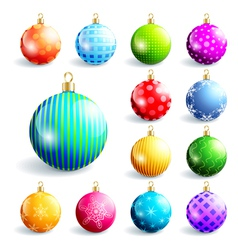 Set of colorful christmas and new year balls vector image