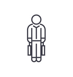 shopping man with bags linear icon sign symbol vector image vector image