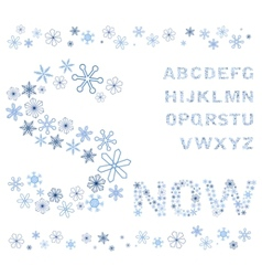 snowflakes alphabet vector image vector image