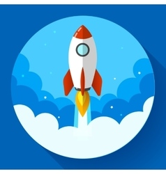 Startup rocket in the clouds flat vector