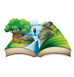 A book with an image of a forest vector image vector image