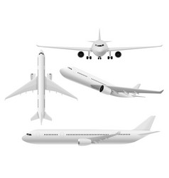 airplane 3d airliner top side and front vector image