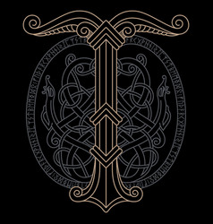ancient scandinavian knot-work and vector image