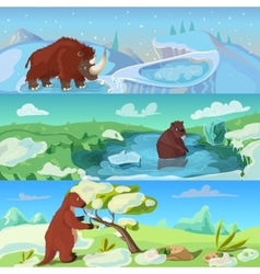 Animals ice age banners set vector
