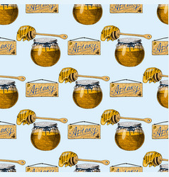 Apiary bee hand drawn vintage honey making vector