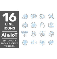 Artificial intelligence and iot thin icons set ai vector
