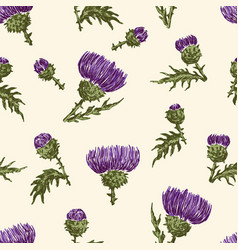 Background of thistle inflorescences vector