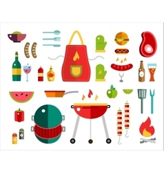 Barbecue and Food Icons Objects set vector