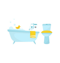 Bathtub with tap and lavatory bowl as home amenity vector