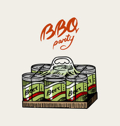 Beer for bbq party in vintage style drawn hand vector