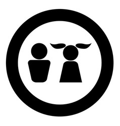 boy and girl icon black color in circle vector image