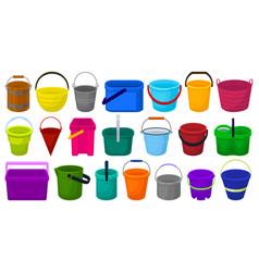 Bucket cartoon set icon vector
