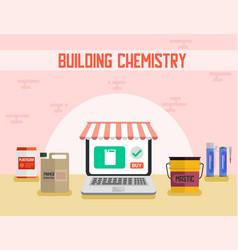 Building chemistry shop flat promotion banner vector