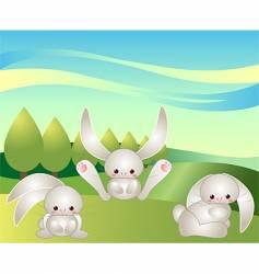 Bunnies at play vector