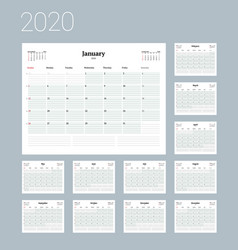 Calendar template for 2020 year business planner vector