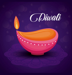 Candle diwali festival isolated icon vector
