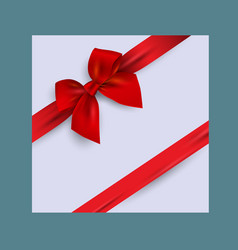 card with realistic red bow vector image