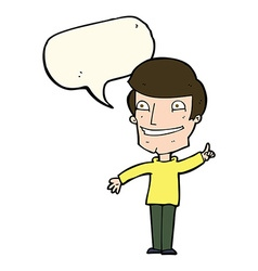 Cartoon grinning man with idea with speech bubble vector