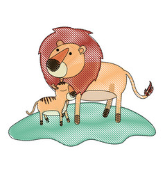 cartoon lion and cub over grass in colored crayon vector image