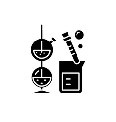 chemistry black icon sign on isolated vector image
