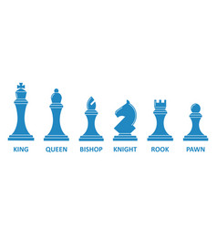 Chess piece name set vector