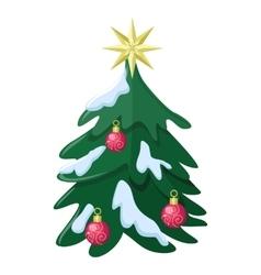Christmas Tree Flat Style vector image