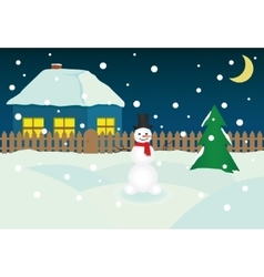 Christmass Night Snowman vector image
