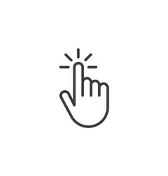 Click hand outline icon linear style sign for vector